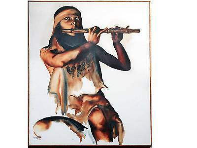 "POPO + RUBYLEE Native American ""Girl with Flute"" LARGE CANVAS OIL PAINTING 1975"