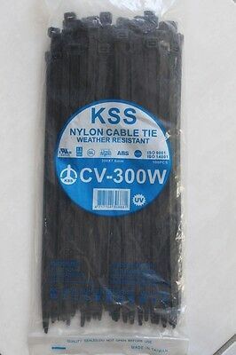 100 HEAVY DUTY 7.6mm x 300mm cable zip ties nylon UV resistant 55KG strength KSS