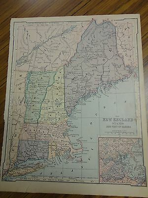 Nice color map of the New England States.  Printed 1896 by American Book Co.