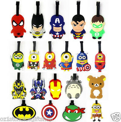 Despicable Me Minions Batman Superman Sipderman Captain America Luggage Bag Tag
