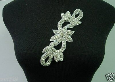 SB245 Curl Floral Rhinestones Crystal Beaded Motif Jewelry Fashion/Design/Craft