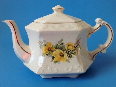 Vintage Ellgreave Teapot Wood and Sons Yellow Flowers Embossed Hexagonal England