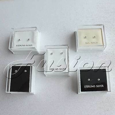 Plastic Clear Top Lid Stud Earrings Display Boxes With Pads