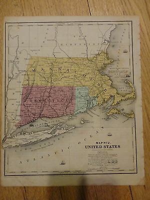 Nice hand colored map #2 (New England) of the US. Circa 1848 by Roswell C. Smith