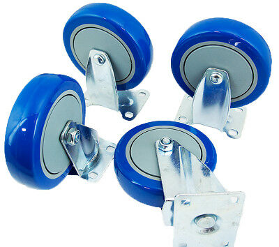 """Set of 4 Swivel Plate Casters with Blue 4"""" Polyurethane Wheels & 2 With Brakes"""