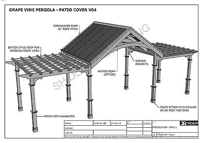 GRAPE VINE OUTDOOR PERGOLA - PATIO COVER VERANDA V4 - Full Building Plans