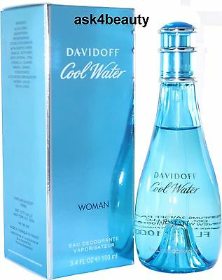 Cool Water By Davidoff Deo Spray For Women 3.4 oz/100ml New In Box