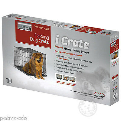 MidWest iCRATE Fold-Carry 1542 SINGLE Door Metal Dog Crate 71-90lb Dog XL-42""
