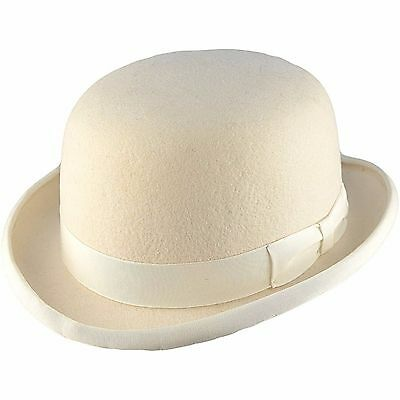 High Quality WHITE Hard Top 100% Wool Bowler Hat - Satin Lined  - Sizes S to XL