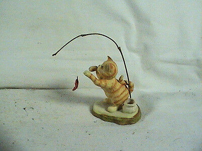 Enesco Cat Kitten Playing With Fish, Candle Holder
