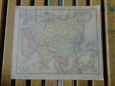 Nice colored map of Asia.  Warren's 1884 pub. by Cowperthwait & Co.