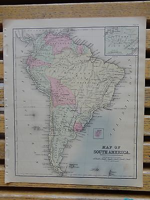 Nice colored map of South America.  Warren's 1884 pub. by Cowperthwait & Co.
