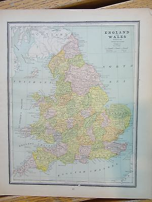 Nice colored map of England & Wales or Scotland.  Cram's Atlas of the World.