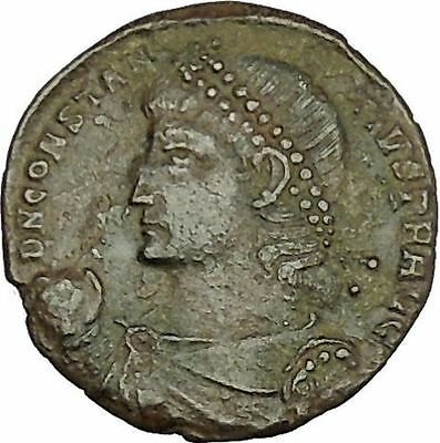 CONSTANTIUS II son of Constantine the Great w labarum Ancient Roman Coini39980
