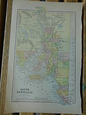 Nice colored map of South Australia.  Pub. 1895 in the People's Cyclopedia.