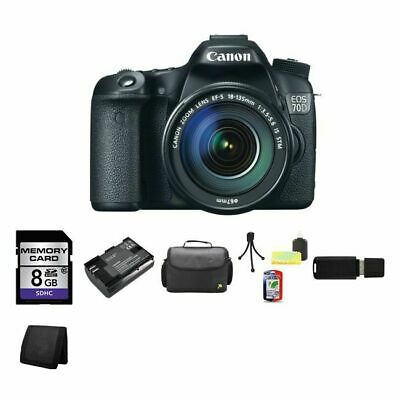 Canon EOS 70D DSLR Camera w/18-135mm Lens + Extra Battery, 8GB & More