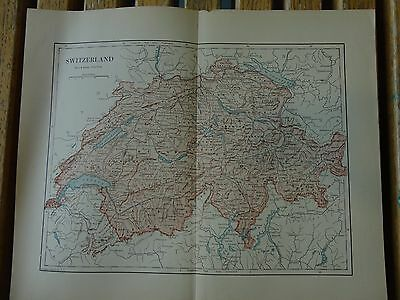 Nice colored map of Switzerland.  Pub. in 1895 in The People's Cyclopedia.