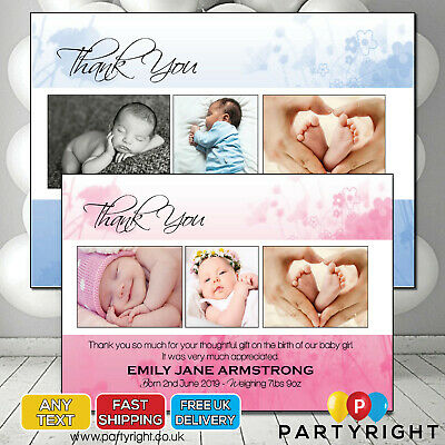 Personalised New Baby Birth Announcment Thank You Cards • Your Photos and Text
