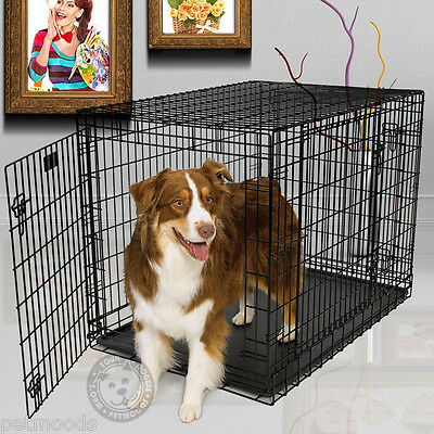 MidWest ULTIMA PRO 742 Metal Dog Crate Fold-Carry TRIPLE Door 71-90 lb Dog L-42