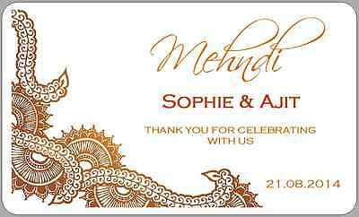 48 X PERSONALISED Glitter Effect Wedding Mehndi Henna Party Stickers Favours 978