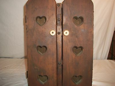 Large Antique Wooden Curio heart themed shadow box wall hanger cabinet