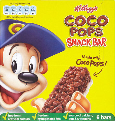 KELLOGGS COCO POPS SNACK CEREAL BARS 3 x 6 PACK