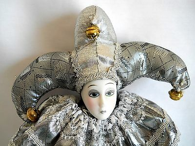 JESTER - METALLIC SILVER COLLECTIBLE PORCELAIN DOLL - Made by Show Stoppers