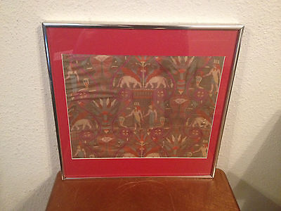 Vintage Antique Egyptian Revival King Tut Pattern Framed Silk Textile
