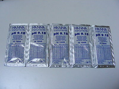 5  x HANNA PH METER BUFFER CALIBRATION SOLUTION SACHETS  HI 70009  9.18 pH