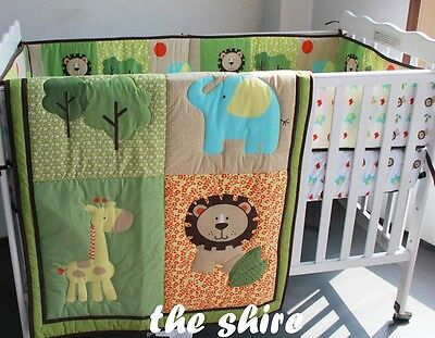 Baby Bedding Crib Cot Quilt Set- NEW 5pcs Quilt Bumper Sheet Dust Ruffle