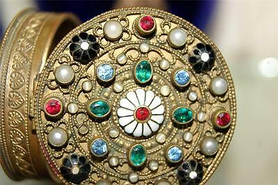 Antique Jeweled & Enamel Compact w/ mirror