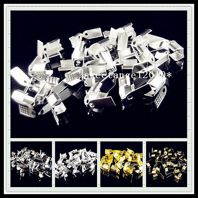 100/200Pcs Metal Fold Over End beads Cord Crimp Jewelry Finding 9x5mm 4 Color