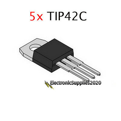 5x TIP42C Power Transistor Complementary PNP 100V 6A TO-220 - USA Fast Shipping