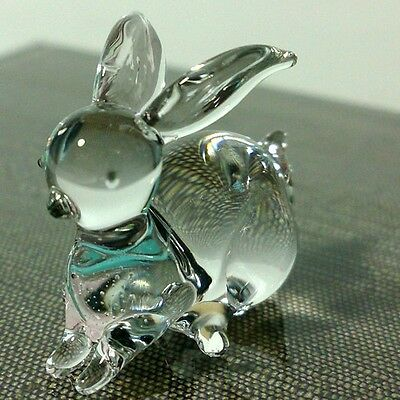 Tiny Crystal Rabbit Bunny Hand Blown Clear Art Glass Figurine Pet Collection