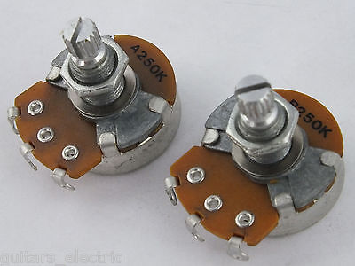 ALPHA POTS Log A or Linear B 250k Volume Tone Potentiometers Electric Guitars