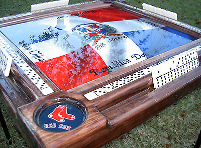 Domino Tables by Art with Dominican Flag & Boston Red Sox Cup Holders