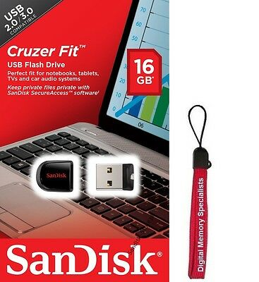 Sandisk 16GB 16G Cruzer FIT USB 2.0 Flash Mini Pen Drive SDCZ33-016G CZ33 RETAIL