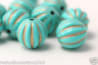 Turquoise Gold Fluted Round Melon Acrylic Beads 17mm (10)