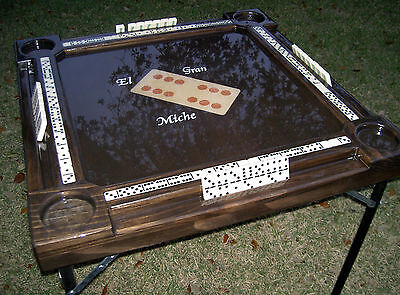Domino Tables by Art with Unique Domino Inlay on Elegant Dark Kona Wood Stain