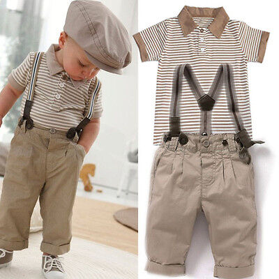 Baby Boys Toddlers Striped T-Shirt+Braces Pants Trousers Shortall Tuxedo Outfit