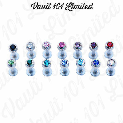 CLEAR & COLOURED CRYSTAL GEM Surgical Steel Ball Labret Lip Piercing Stud Monroe