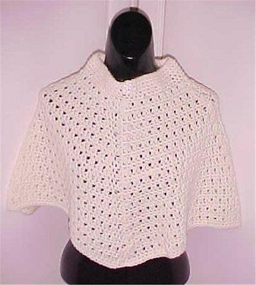 Girls' Hand Crochet Poncho Pale Yellow Size 3-5 NEW