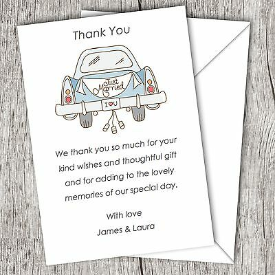 Personalised WEDDING Thank You Cards (Postcards) • Fast Post • Car