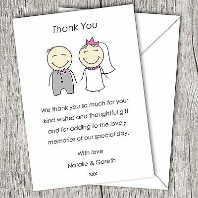 Personalised WEDDING Thank You Cards (Postcards) • Fast Post • Cute Couple