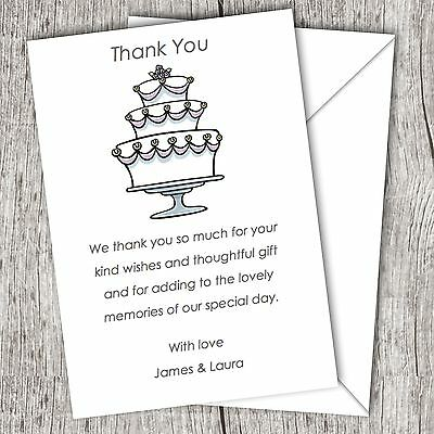 Personalised WEDDING Thank You Cards (Postcards) • Fast Post • Wedding Cake