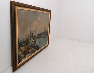 Vtg French Industrial Nautical Painting Normandy Original by Michel Girard 1939