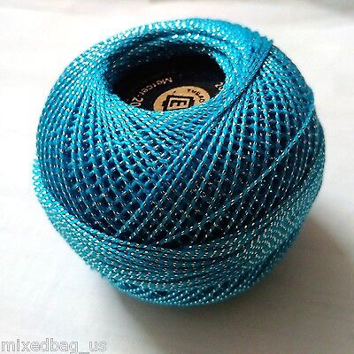 Turquoise & Silver Lurex - 20 gm Cotton Yarn Thread Crochet Embroidery Knitting