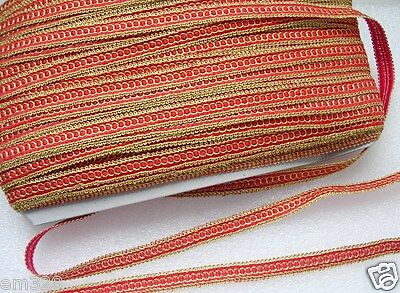 """GB78 1/2"""" Metallic Gold Red Double Loop Braided Gimp Sewing/Upholstery 10yards"""