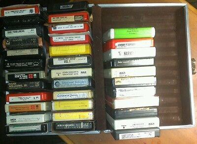 36- 8 Trak Tapes With Nice Leather Case