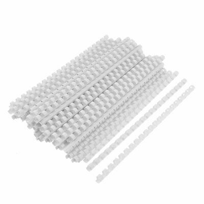 "100pcs White 10mm Dia Rings A4 Paper Plastic Binding Combs 11.6"" Length"